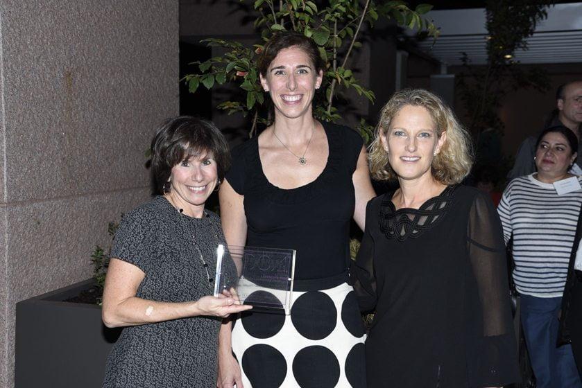 Julie Sanders, Jennifer Giunta of Chapel Valley, the Landscape Firm awardee; Sharon Jaffe Dan.