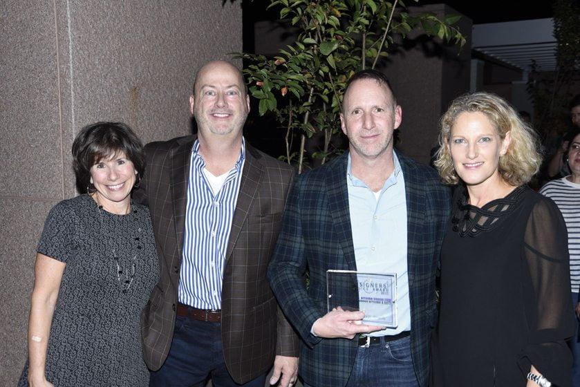 Julie Sanders, awardees Mike Conway and J. Paul Lobkovich of Lobkovich Kitchen Designs, Sharon Jaffe Dan.