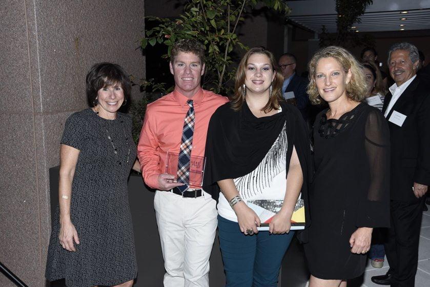 Julie Sanders, Nick Holmquist and Lauryn Preller of Paint Brand awardee Benjamin Moore, Sharon Jaffe Dan.