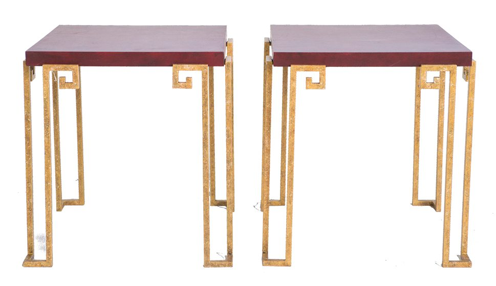 Michael Hampton's new line includes the Greek Key Stools, shown with red-lacquered glass.