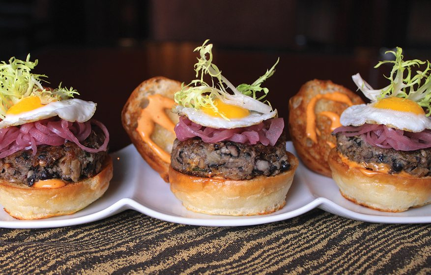 Entyse's vegetarian sliders with chipotle aioli and quail egg.