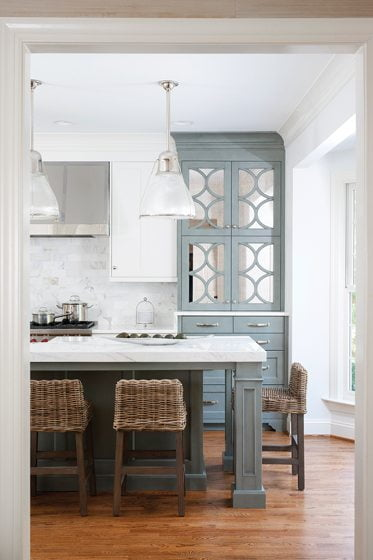 Interior designer Kristin Peake worked with Shashaani to create the kitchens gray-and-white color palette.