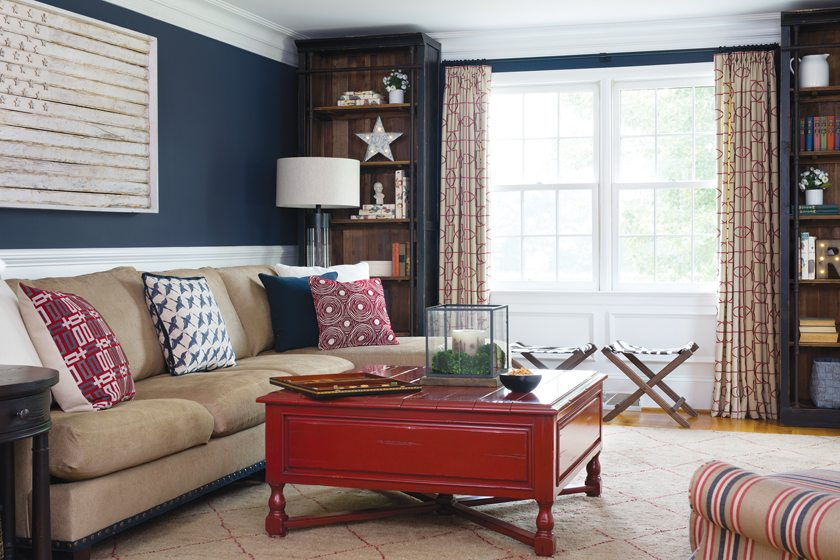 The family can curl up on the Lee Industries sectional in the family room before a coffee table from Lorts.