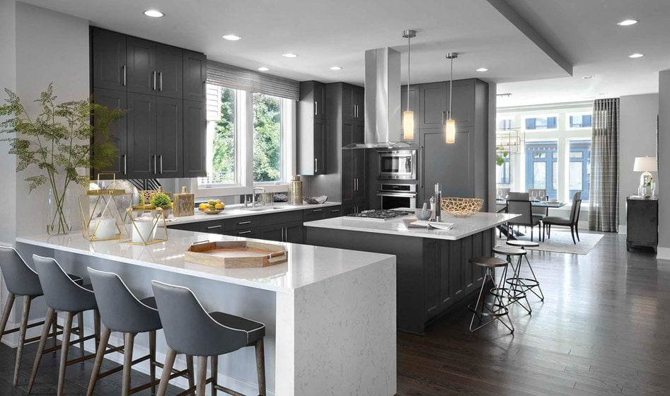 Design and Architecture, Attached Home, including Townhouses, Two-over-Twos, Back-to-Back Townhouses, Duplexes, Fee Simple and Condo-Ownership, over $850,000 (tie):  Marshall at Grosvenor Heights, Bethesda, Maryland; EYA, Lessard Design. ©  Thomas Arledge.
