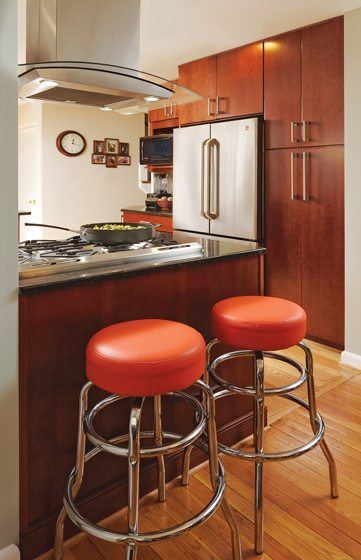 Orange stools came from Miss Pixie's on 14th Street in DC.