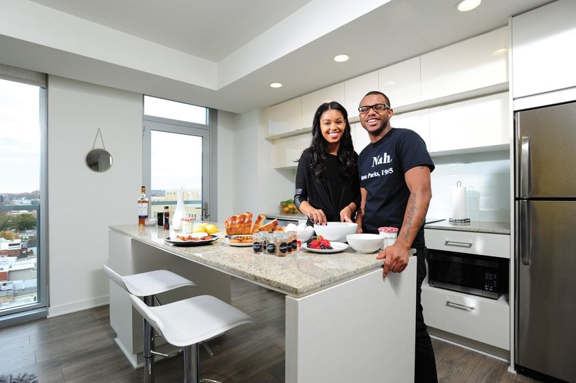 Onwuachi and  fiancée Mya Allen prepare breakfast at home.