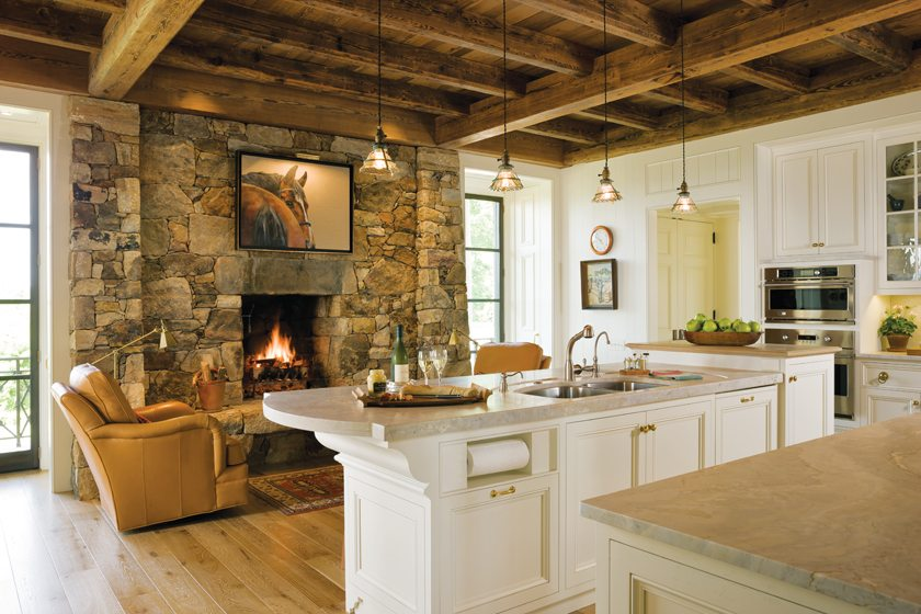 Father and son stonemasons built the massive kitchen hearth.