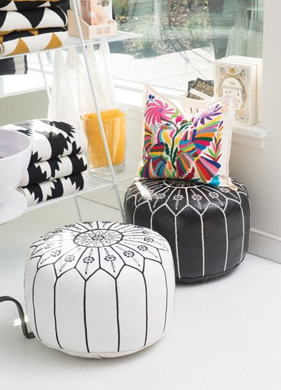 Moroccan leather poufs are among Salt & Sundry's offerings. Photo © Jeffrey Martin