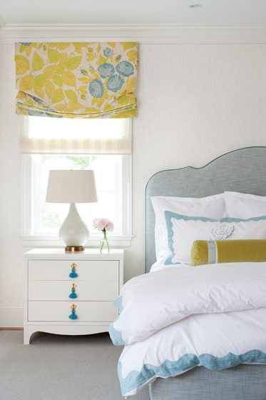 Gretchen Everett fabricated shades in the master bedroom and window treatments throughout the home.