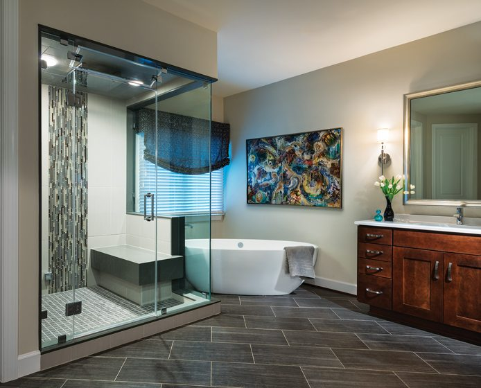 The master bath features an oversized steam shower and soaking tub.