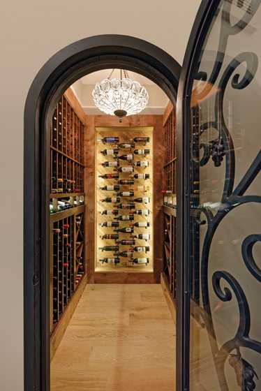 Lisa, who owns the Wine Cellar Company, designed the wine room.