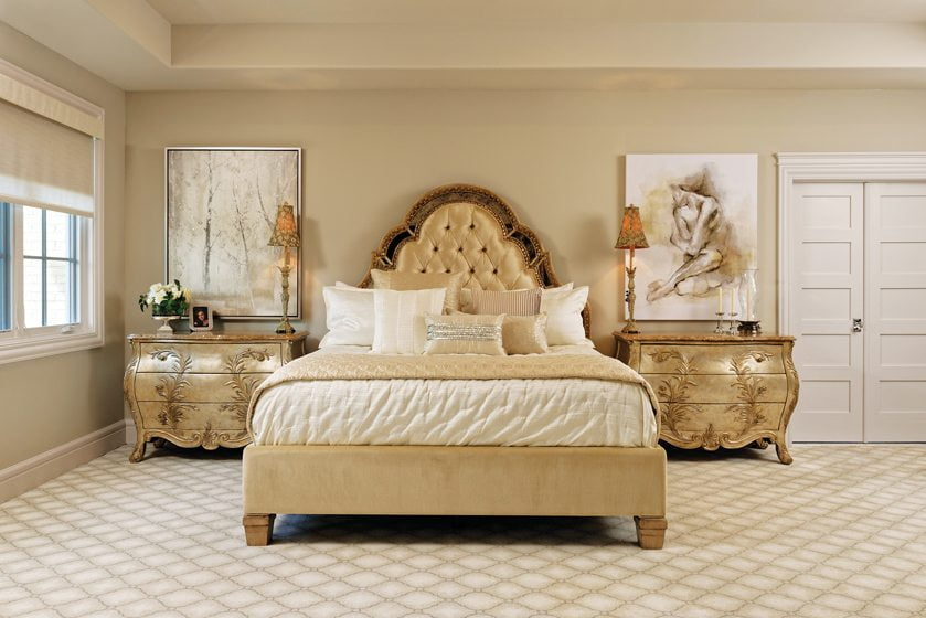 Henredon chests and art from Z Gallerie grace the master suite.