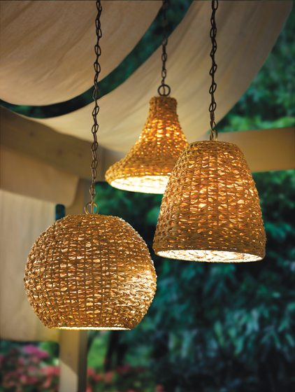 Kichler's Palisades 1 Light Outdoor Pendant, pictured in Natural Wicker.