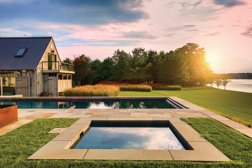 The 45-foot pool and spa afford prime views of the Wye River.