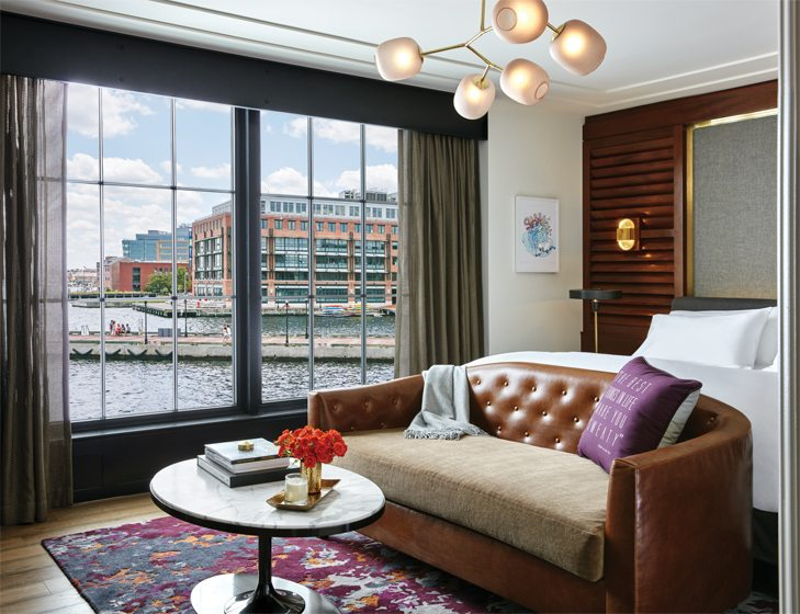 Sutton designed the furniture and rugs in a guest room that resembles a ship's berth. © Christian Horan