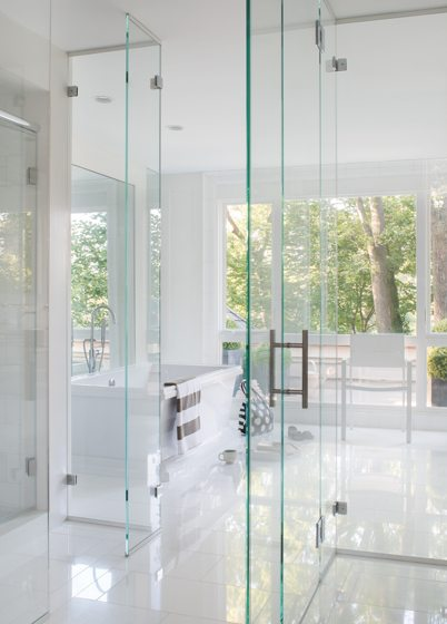 The bathroom, with its DXV soaking tub.
