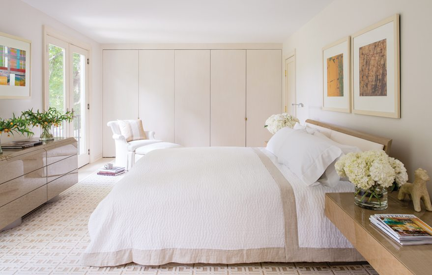 In the updated master bedroom, Drysdale replaced windows with French doors.