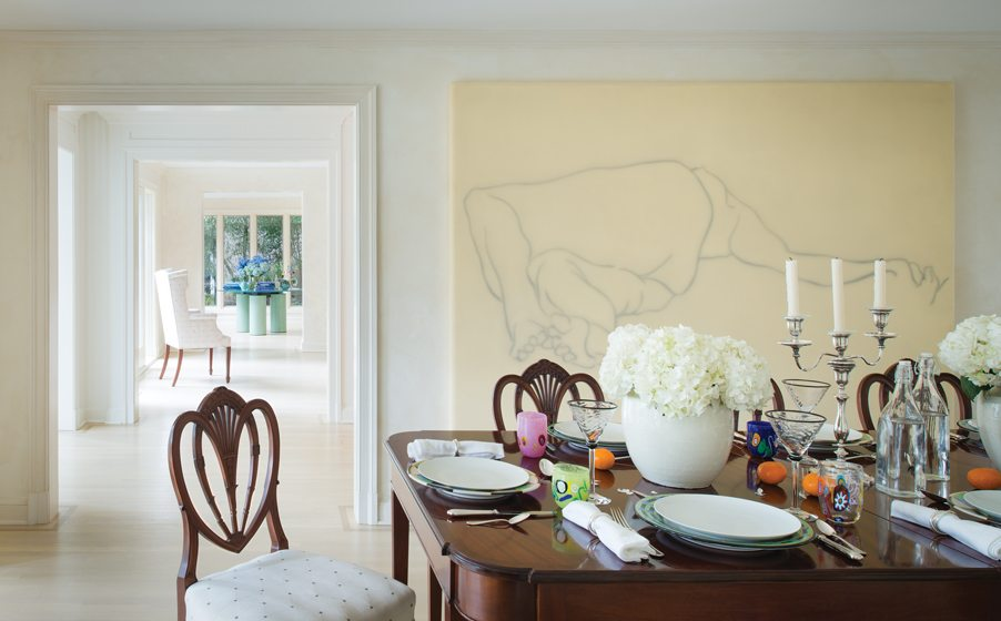 The dining room features a large-scale line painting by Canadian artist Adam Markovic.