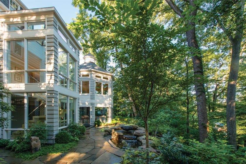 Over the years, Mary Douglas Drysdale designed kitchen and staircase additions to the back of the home.