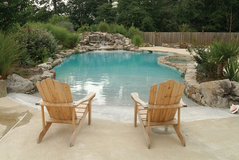 Vista Pro Landscape & Design created a beach-entry, saltwater pool in Severna Park that resembles a natural lagoon.