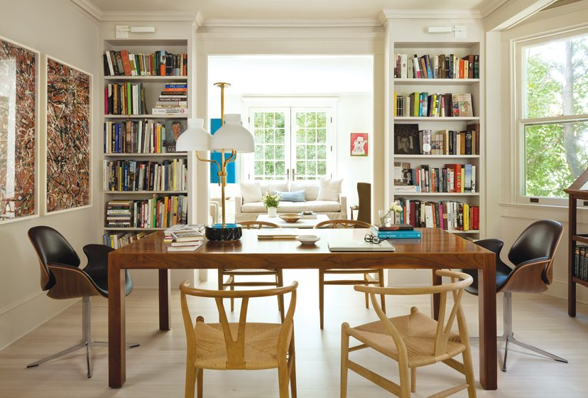In the dining room/library, the doorways were enlarged and built-in bookshelves added.