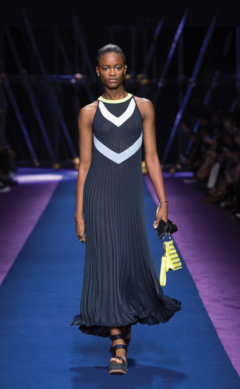 Versace's Pleated Chevron Knit Maxi.
