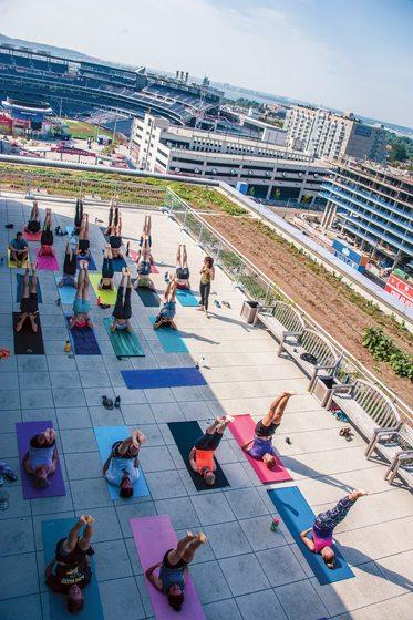 Yoga classes enjoy views of Nationals Stadium.