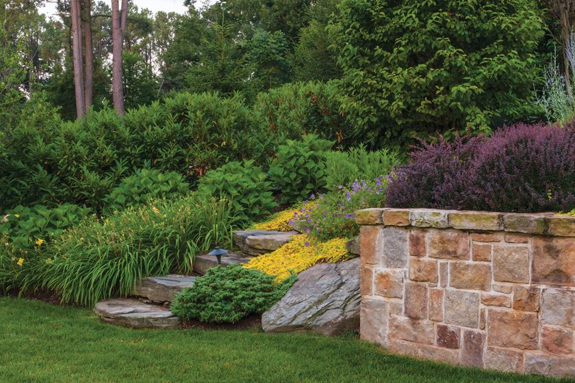 The retaining walls are made of Western Maryland fieldstone.