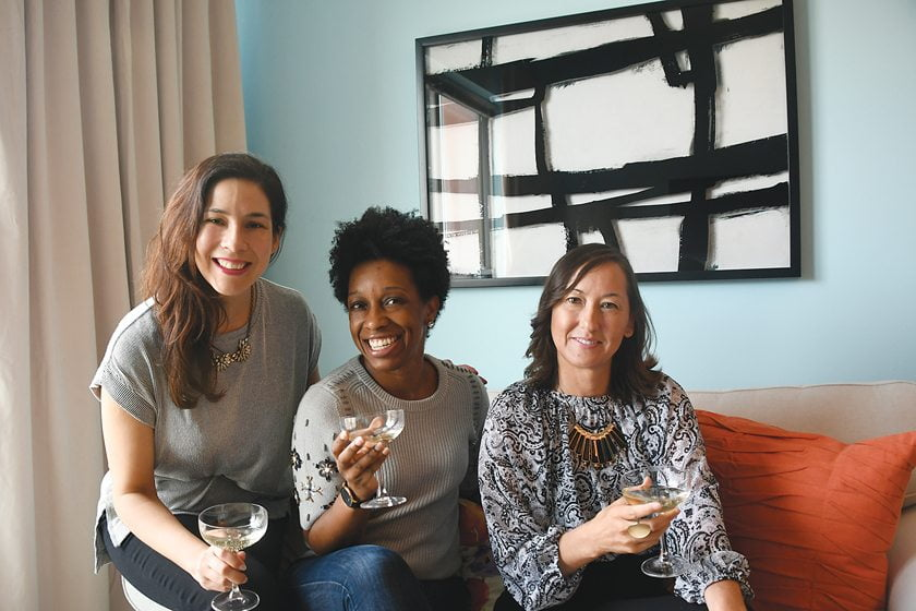 Mariella Cruzado of Splendor Styling, Weatherspoon and volunteer Miyuki Carter in a home Cruzado created for a DC mom.