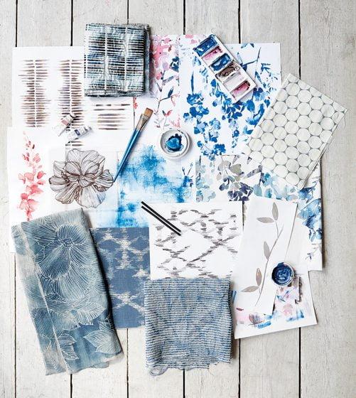 Villa Nova's HANA Fabric Collection in indigo.