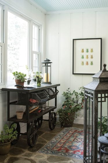 A Christopher Marley display of leaf bugs brings an outdoor vibe to the wife's potting room