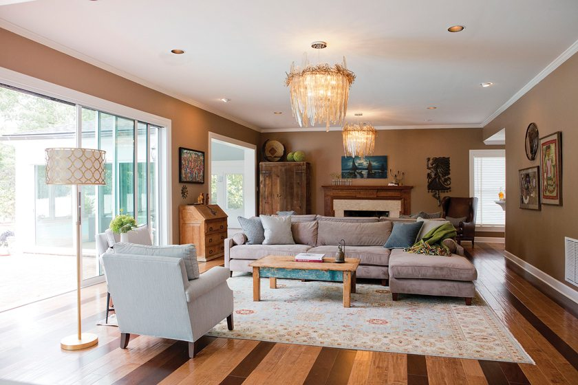 Back-to-back BSC sectionals accommodate parties large and small in the family room.