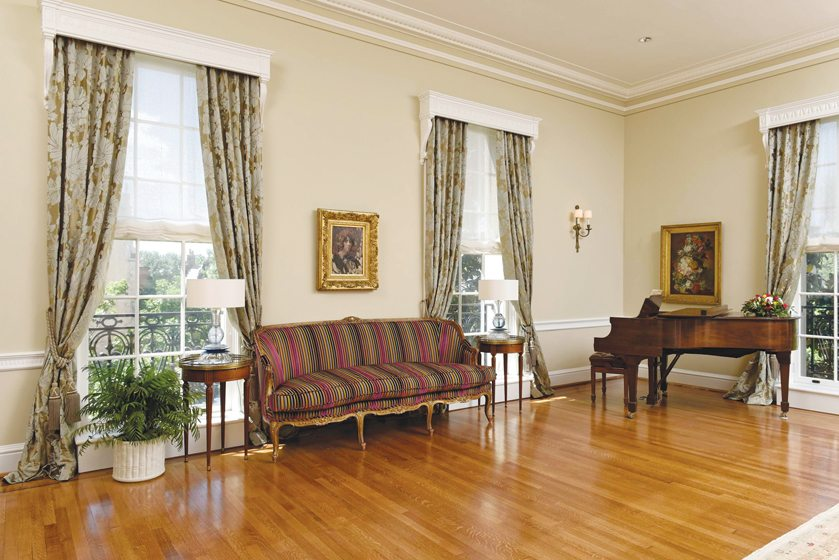 The reception room is sparsely furnished to accommodate frequent large gatherings.