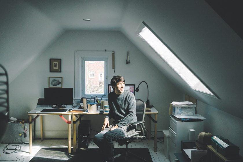 Jonah Takagi works in the attic studio of his Glover Park row house. © GREG KAHN