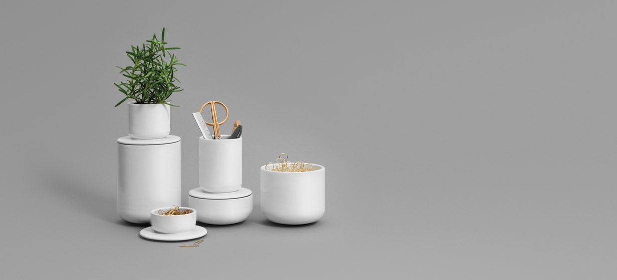 The porcelain pieces in his Double Vessel collection for OTHR hide and display contents according to the user's whim.