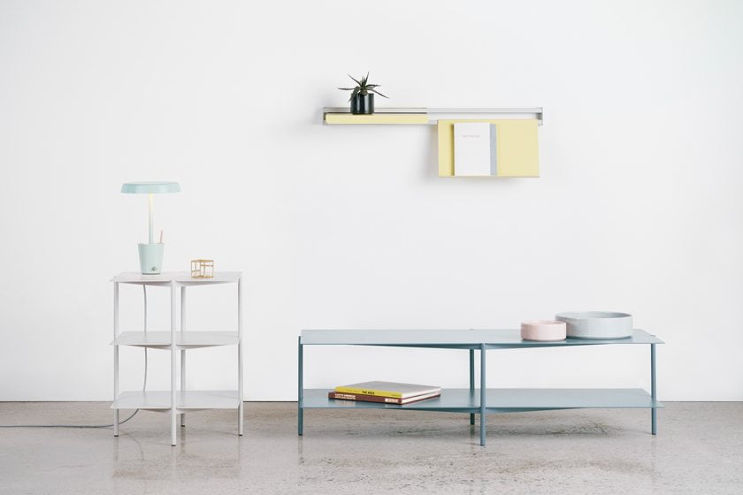Takagi's steel Tier Side Table and Coffee Table for Umbra Shift were inspired by modern, 1960s-era high-rises.