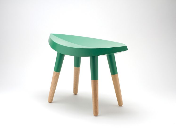 Inspired by a classic milking stool, Takagi crafted this playful green seat in 2009.