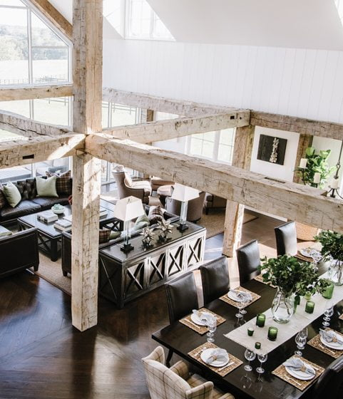 Seen from above, the dynamic mix of rustic wood and expansive modern window walls is clear.