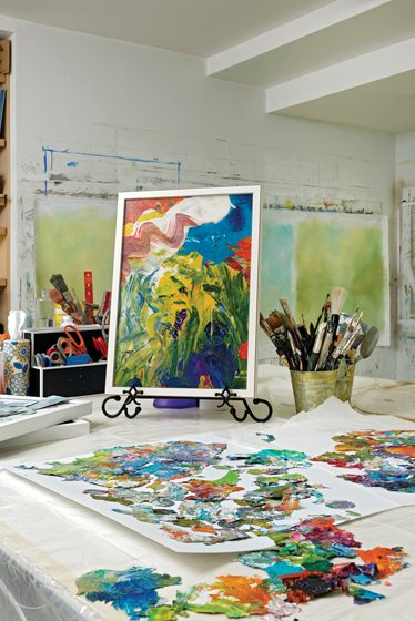 Tureson's studio is abloom with colorful works in progress. Photo Bob Narod.