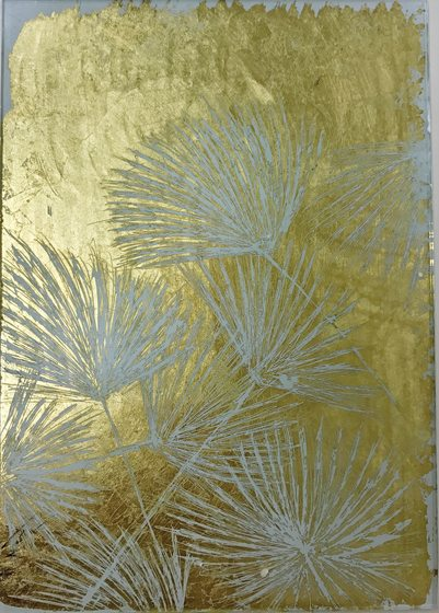 Tureson's shimmering sample of reverse gilding on glass depicts delicate dandelion flowers.