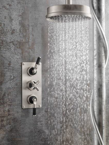 Samuel Heath's LMK Industrial collection of faucets, showerheads and accessories.