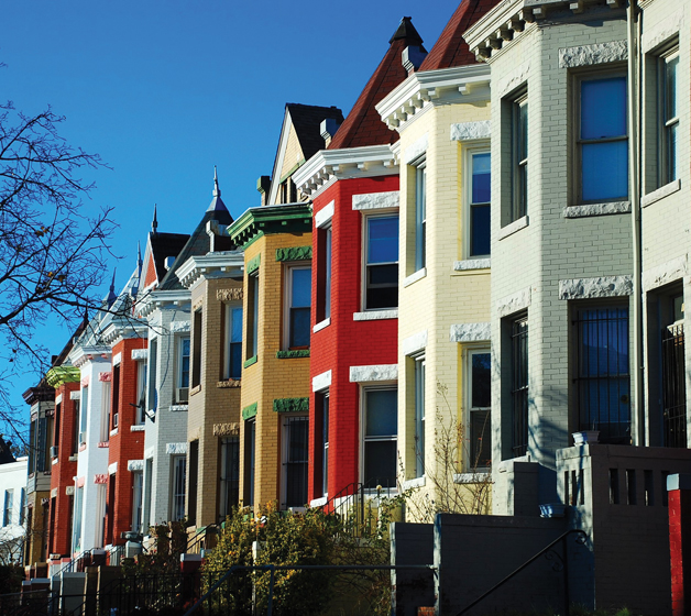 Brightly painted Victorian row houses in Bloomingdale. Photo Diane Pappafotis