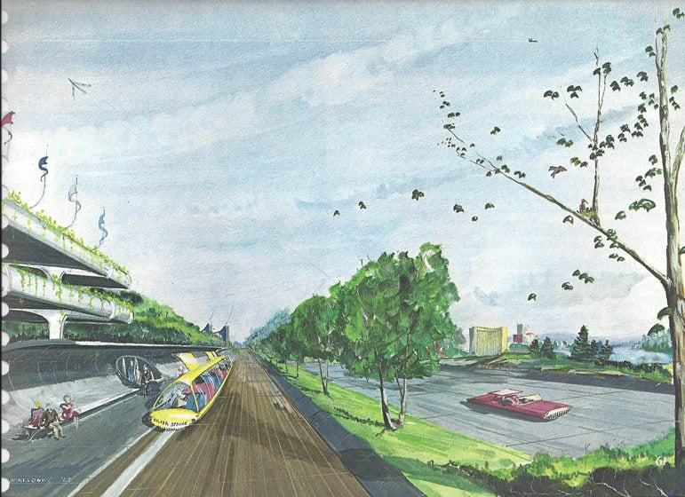 A 1964 sketch by D. Winklosky of a future Montgomery County. Courtesy of MCCPPC.