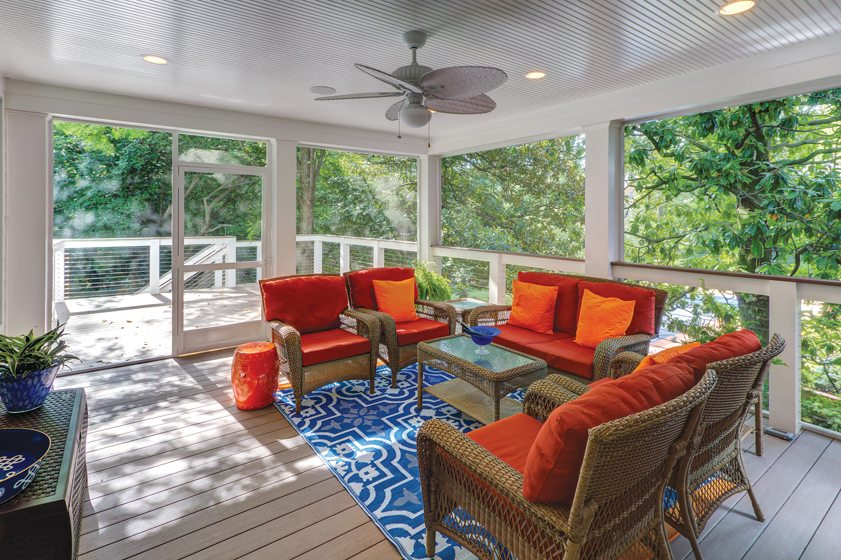 R&R Custom Homes built an addition with an airy screened porch.  © Stu Estler Photography