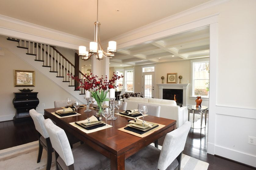 Crisp architectural details embellish the dining room in a house by Foxhall Homes. © HouseLens, Inc.