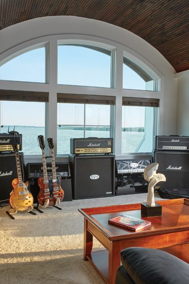 The top-floor loft holds Hansen's husband's guitars and sound equipment.