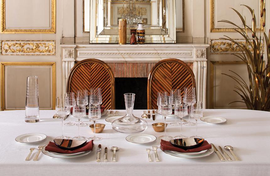 A table set with Christofle's Graphik crystalware.