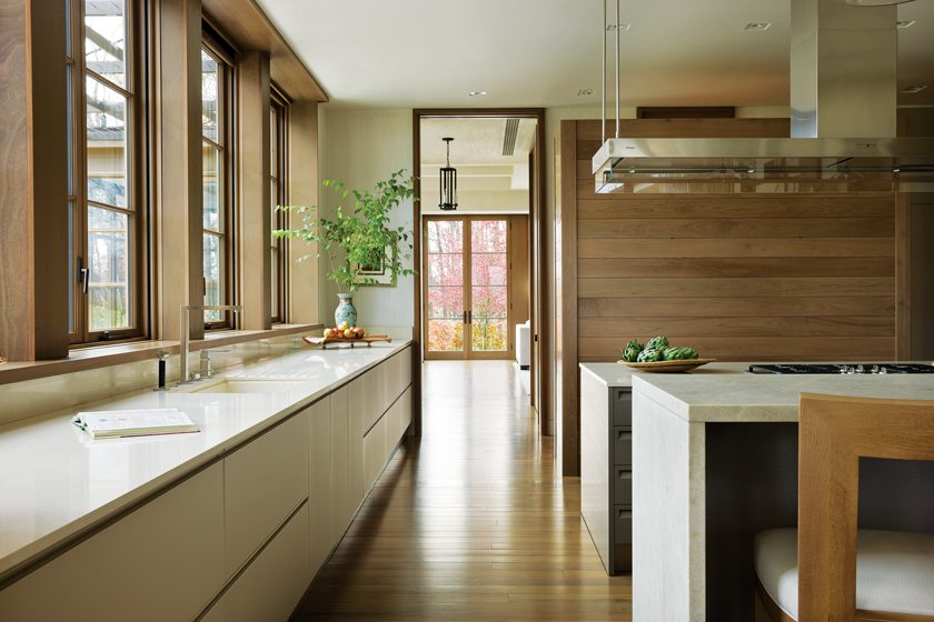 A walnut accent wall adds warmth to the clean-lined kitchen.
