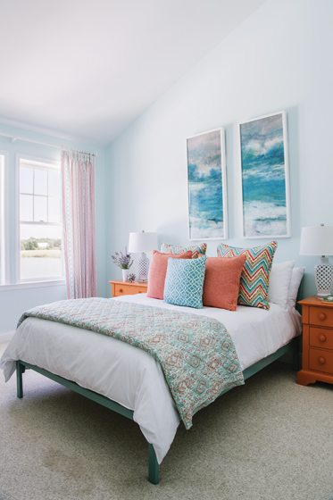 The guest room features John Robshaw bedding.