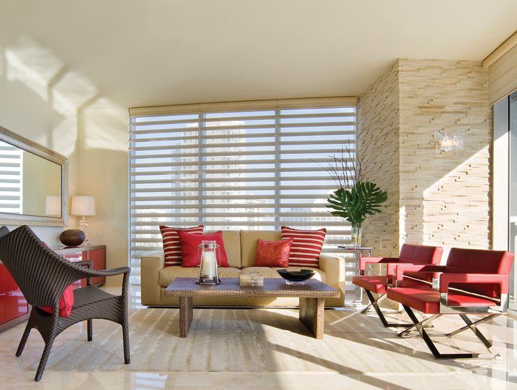 Rockville Interiors carries Hunter Douglas's Pirouette shades, which can be customized from a choice of 500 fabrics. © Pirouette Window Shadings by Hunter Douglas